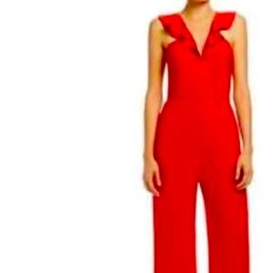 Nordstrom's Wayf red ruffle wide leg jumpsuit